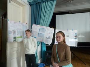 Пузиков Е. и Русинова О.  при защите своих исследовательских работ